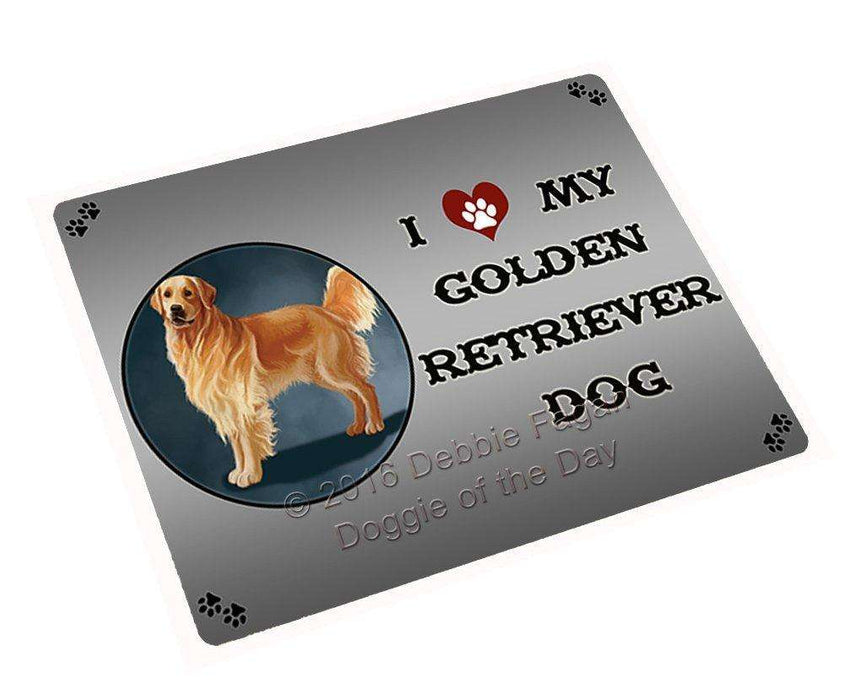 I Love My Golden Retriever Dog Tempered Cutting Board