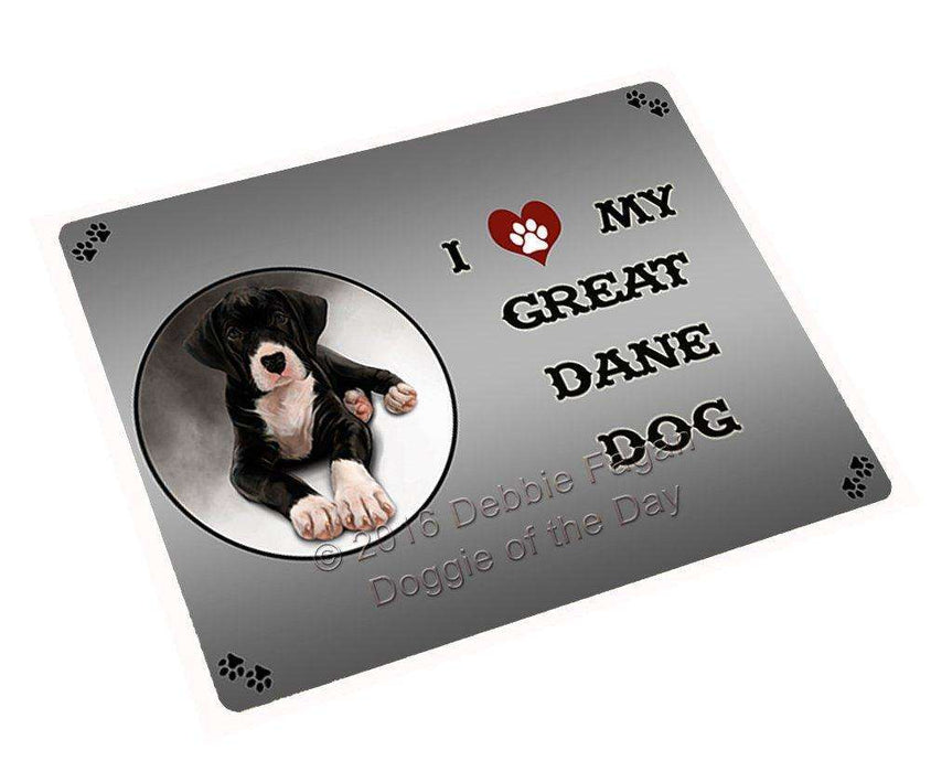 I Love My Great Dane Dog Art Portrait Print Woven Throw Sherpa Plush Fleece Blanket