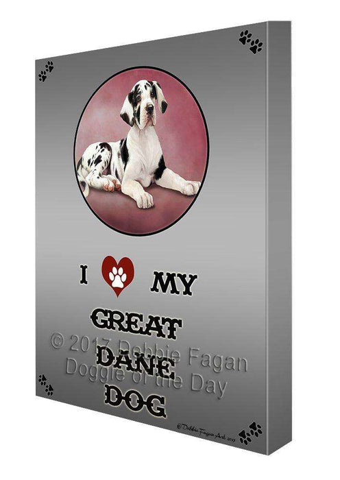 I Love My Great Dane Puppy Dog Canvas Wall Art D319