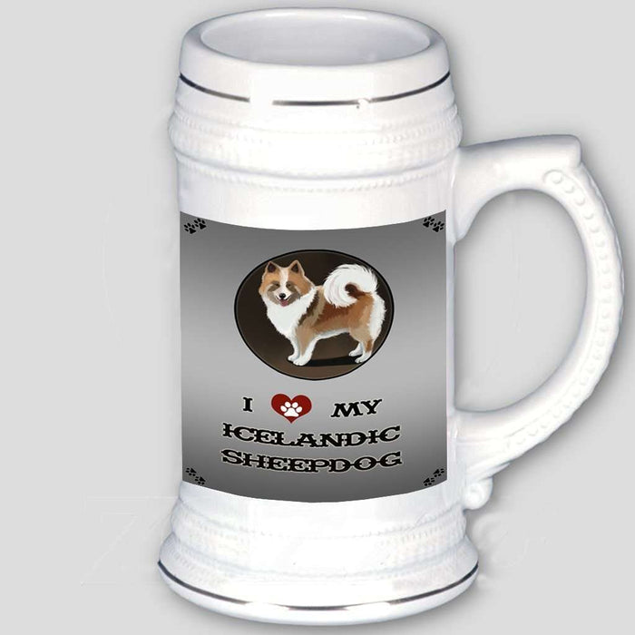 I Love My Icelandic Sheepdog Beer Stein