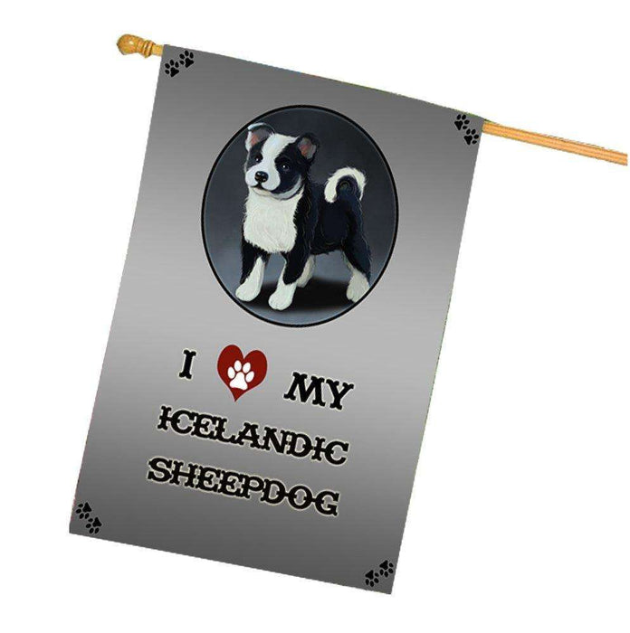 I Love My Icelandic Sheepdog Puppy Dog House Flag