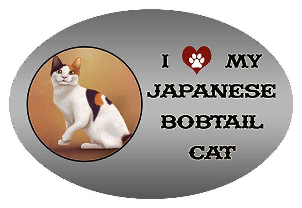 I Love My Japanese Bobtail Cat Oval Envelope Seals