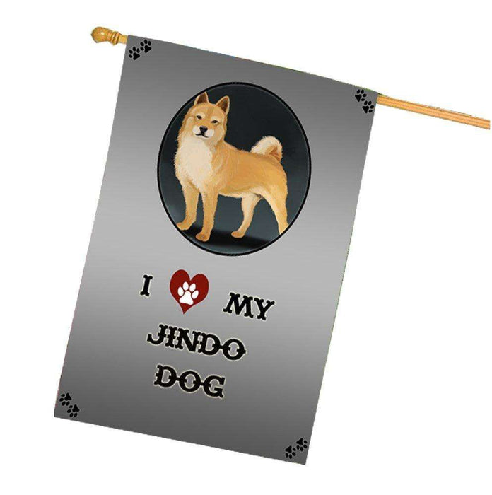 I Love My Jindo Dog House Flag