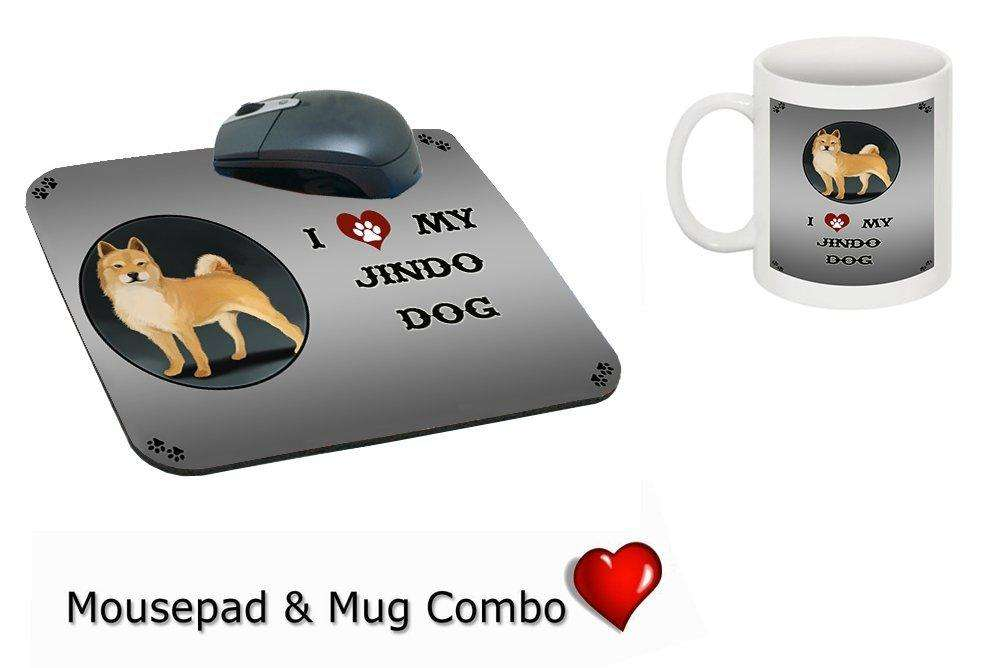 I Love My Jindo Dog Mug & Mousepad Combo Gift Set