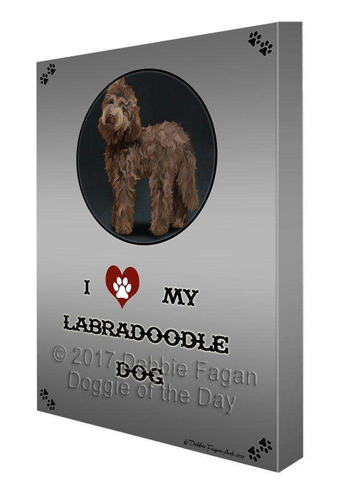 I Love My Labradoodle Brown Dog Canvas Wall Art D351
