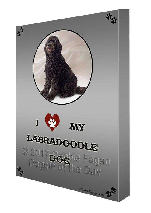 I Love My Labradoodle Dog Canvas Wall Art D350