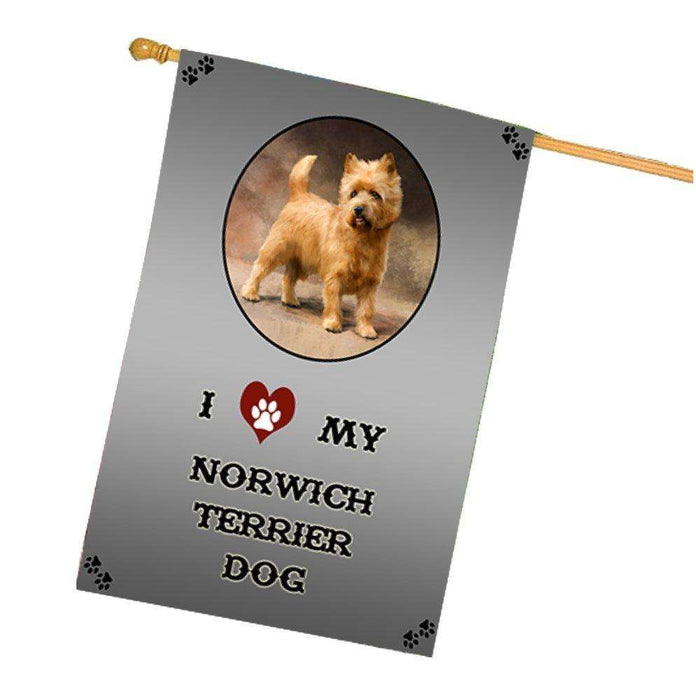 I Love My Norwich Terrier Dog House Flag