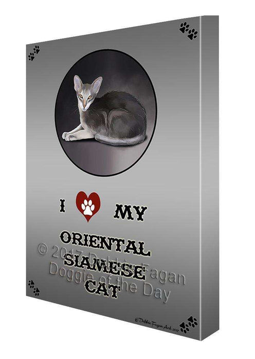 I Love My Oriental Siamese Cat Canvas Wall Art D198