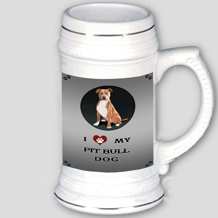 I Love My Pit Bull Dog Beer Stein