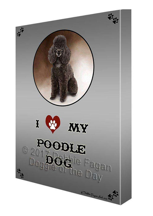 I Love My Poodle Dog Canvas Wall Art D244