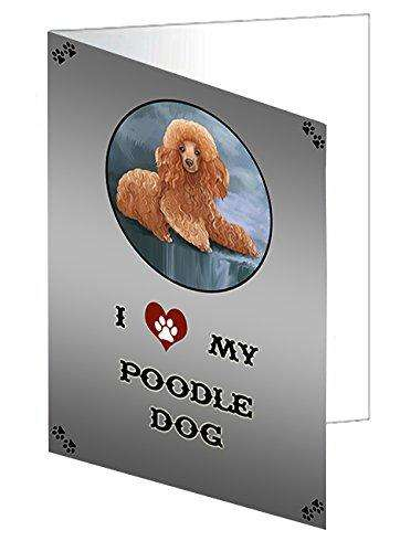 I Love My Poodle Dog Note Card