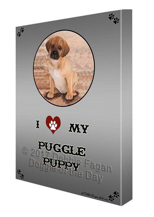 I Love My Puggle Puppy Dog Canvas Wall Art D253