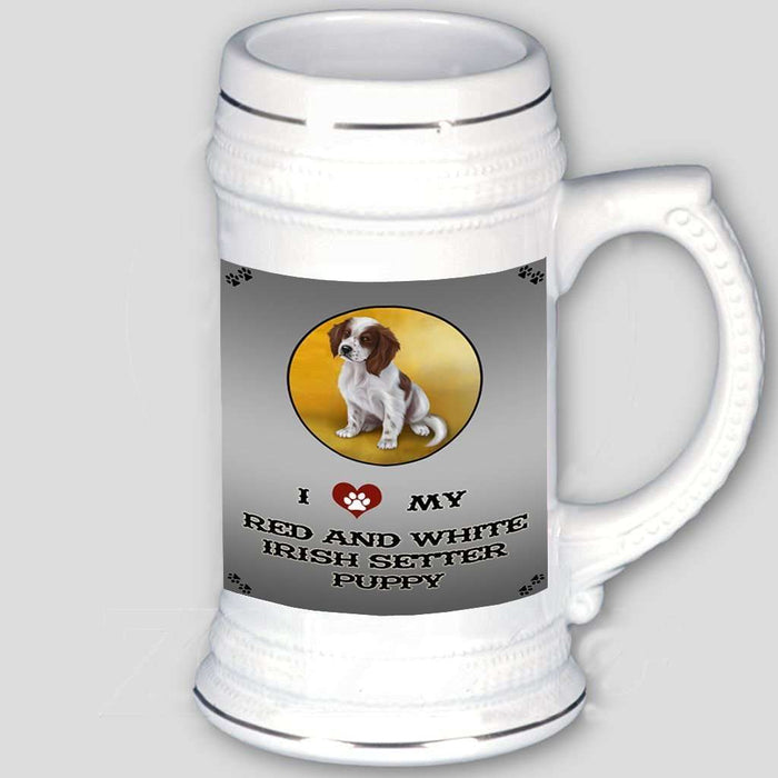 I Love My Red And White Irish Setter Puppy Dog Beer Stein