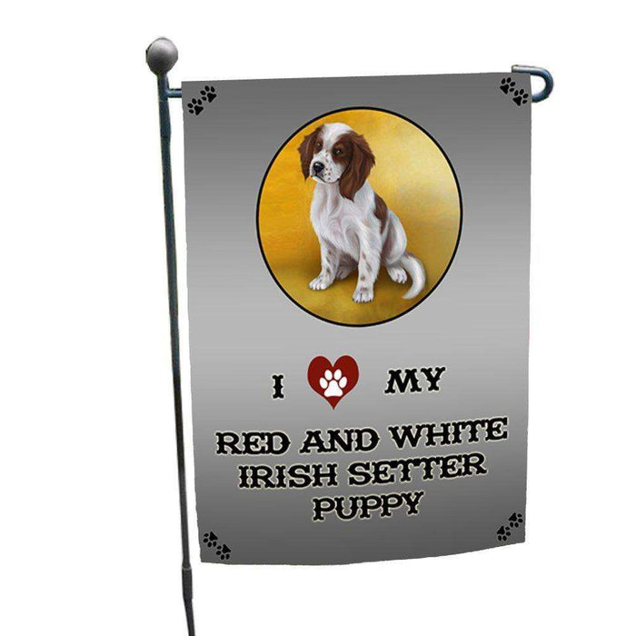 I Love My Red And White Irish Setter Puppy Dog Garden Flag