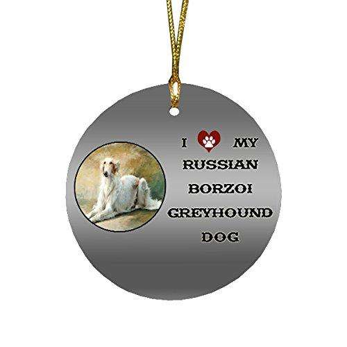 I love My Russian Borzoi Greyhound Dog Round Christmas Ornament