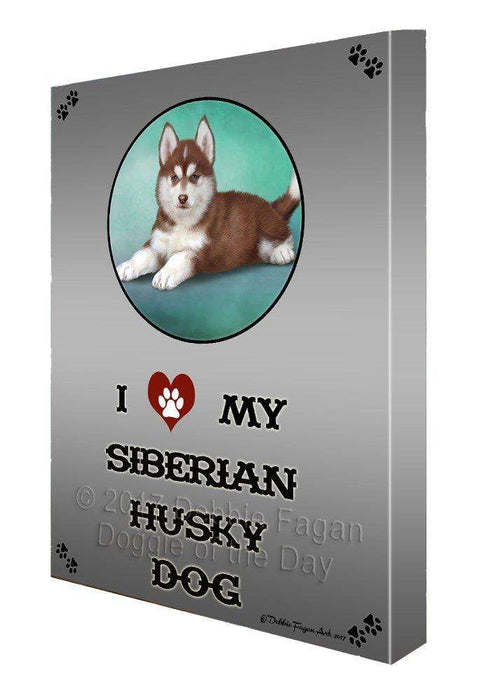 I love My Siberian Husky Puppy Dog Canvas Wall Art