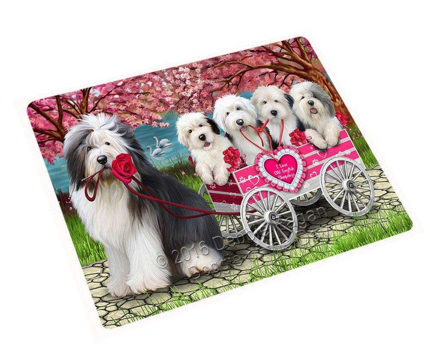 I Love Old English Sheepdog Dogs in a Cart Tempered Cutting Board