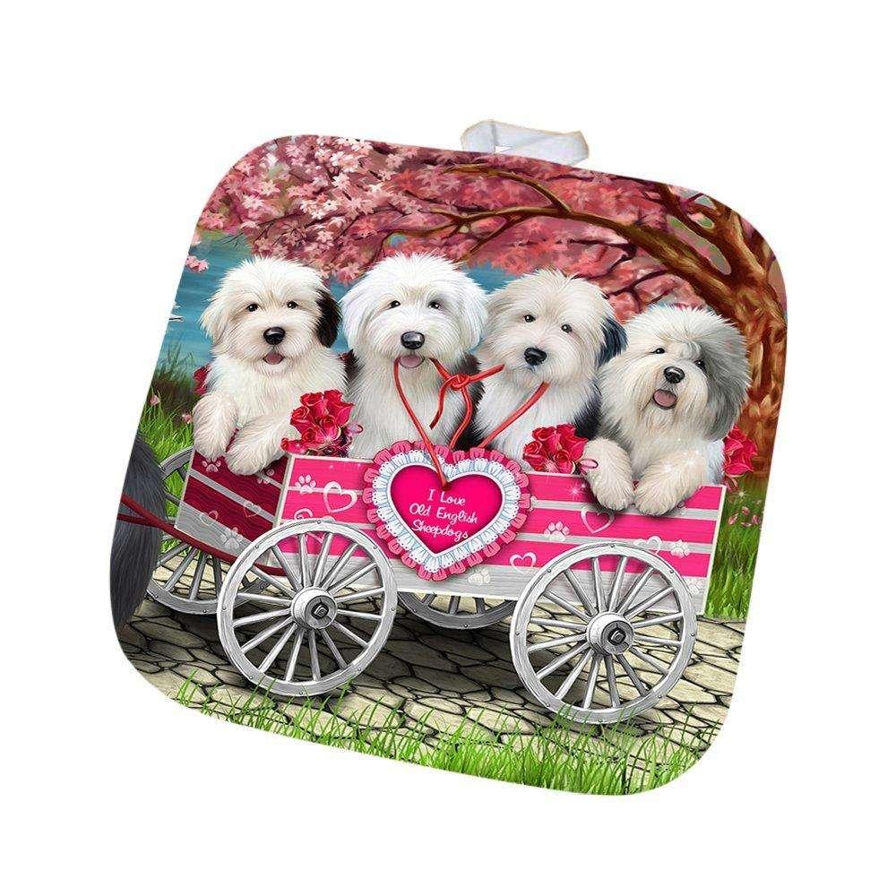 I Love Old English Sheepdogs Dog in a Cart Pot Holder POT48571