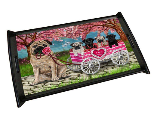 I Love Pug Dogs in a Cart Black Wood Serving Tray