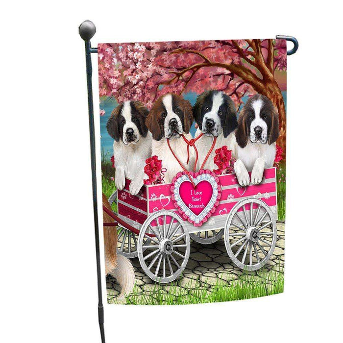 I Love Saint Bernard Dogs in a Cart Garden Flag