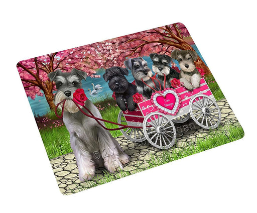 "I Love Schnauzer Dogs In A Cart Magnet Small (5.5"" x 4.25"")"