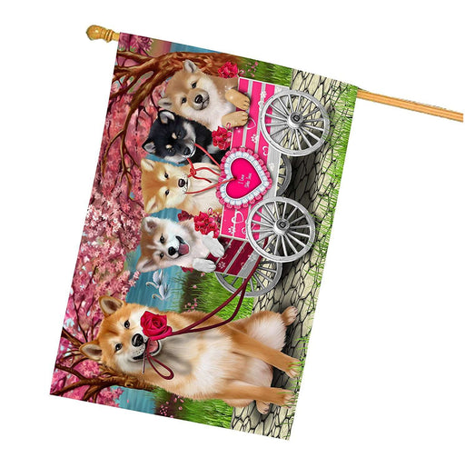 I Love Shiba Inu Dogs in a Cart House Flag