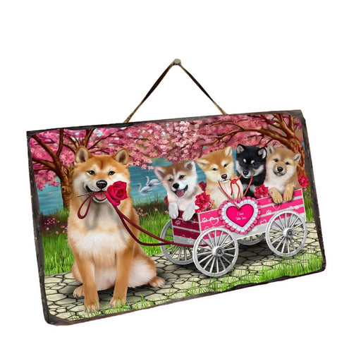 I Love Shiba Inu Dogs in a Cart Wall Décor Hanging Photo Slate