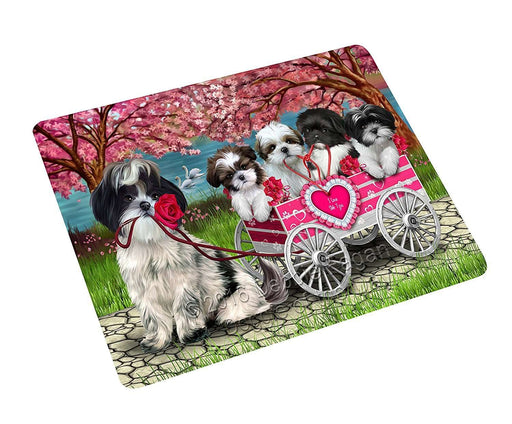 "I Love Shih Tzu Dogs In A Cart Magnet Small (5.5"" x 4.25"")"
