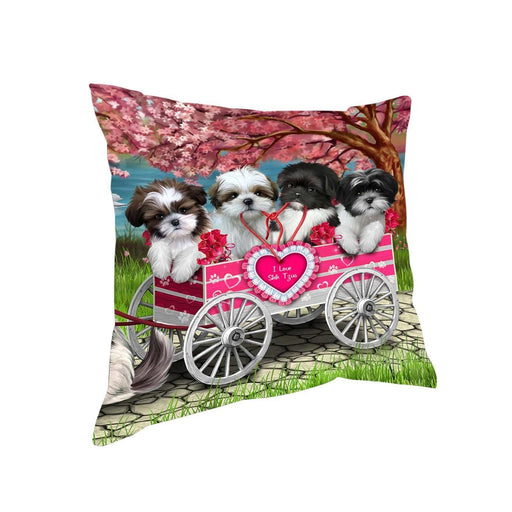 I Love Shih Tzu Dogs in a Cart Throw Pillow D073