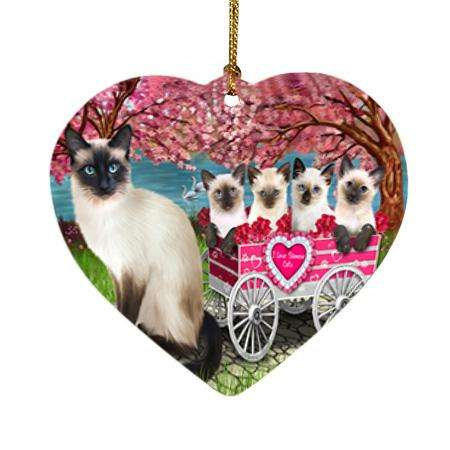 I Love Siamese Cats in a Cart Heart Christmas Ornament HPOR51706