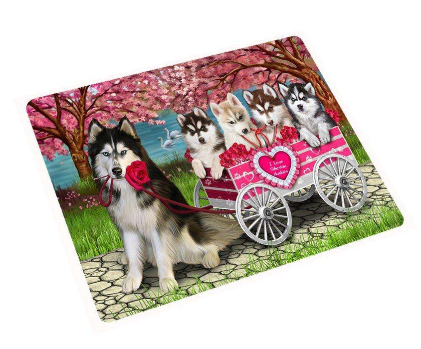 I Love Siberian Husky Dogs in a Cart Large Refrigerator / Dishwasher Magnet D092