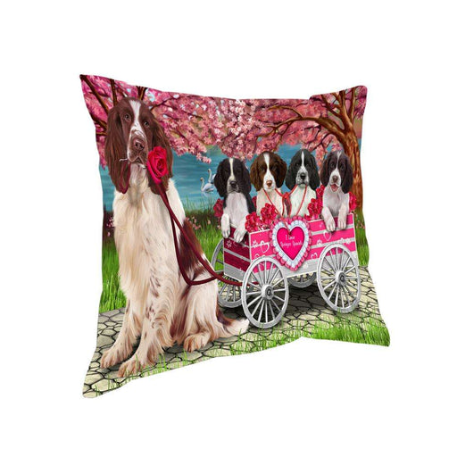 I Love Springer Spaniels Dog in a Cart Pillow PIL73476