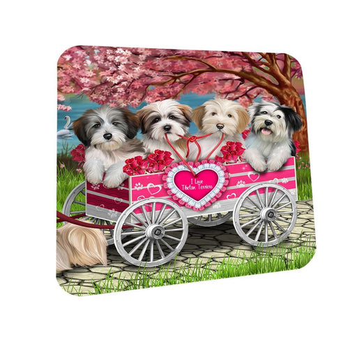 I Love Tibetan Terriers Dog in a Cart Coasters Set of 4 CST48103
