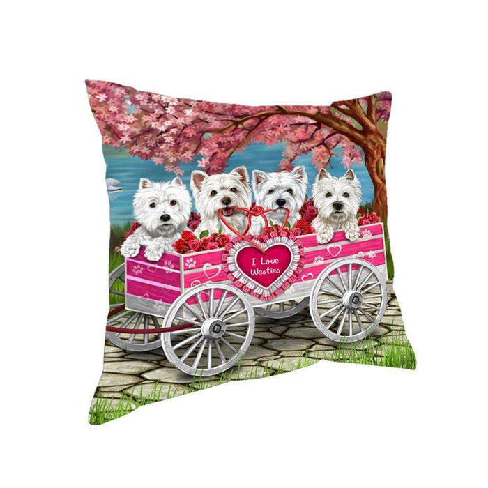 I Love Westies Dogs in a Cart Throw Pillow