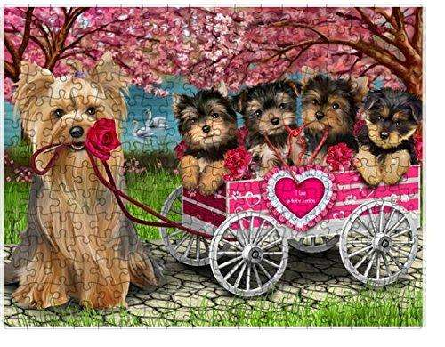 I Love Yorkshire Terrier Dogs in a Cart Puzzle with Photo Tin