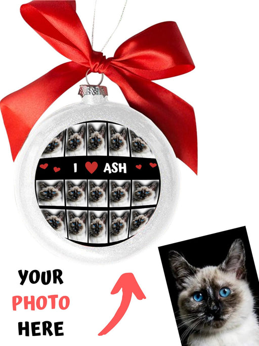 Custom Add Your Photo Here PET Dog Cat Photos on White Round Ball Christmas Ornament