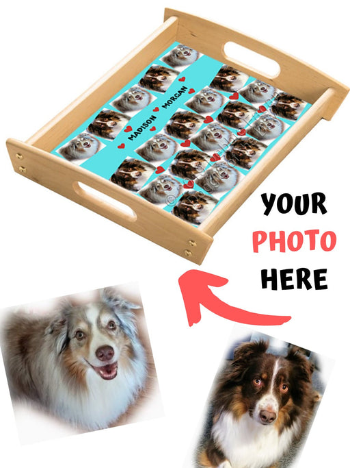 Custom Add Your Photo Here PET Dog Cat Photos on Wood Serving Tray with Handles Natural