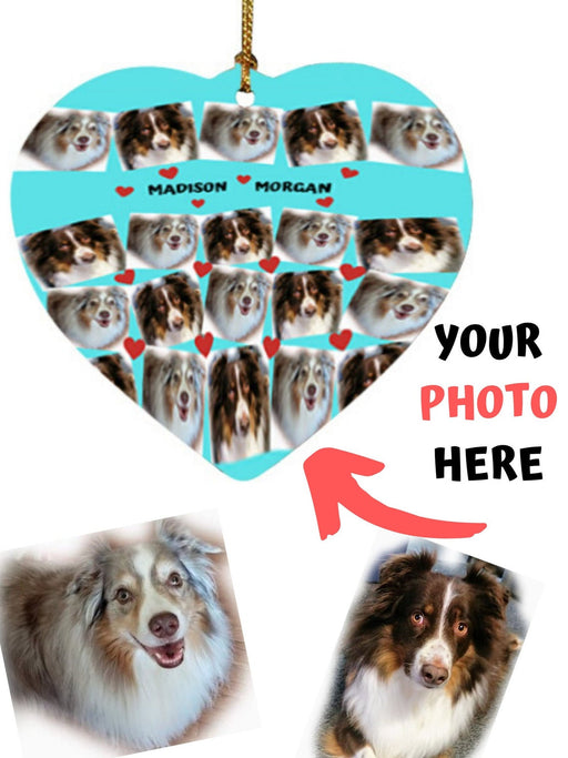 Custom Add Your Photo Here PET Dog Cat Photos on Heart Christmas Ornament