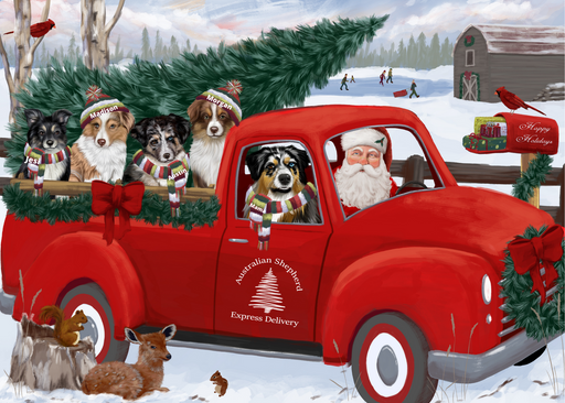 Custom Digital Painting Art Photo Personalized Dog Cat in Express Delivery Red Truck