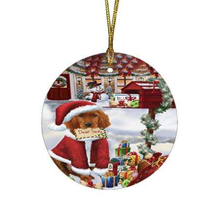 Irish Setter Dog Dear Santa Letter Christmas Holiday Mailbox Round Flat Christmas Ornament RFPOR53533