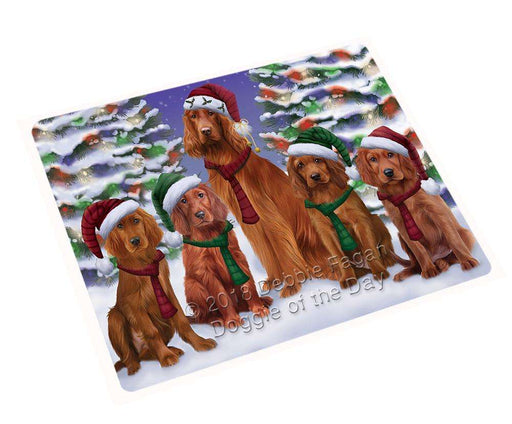 "Irish Setters Dog Christmas Family Portrait In Holiday Scenic Background Magnet Small (5.5"" x 4.25"") mag62238"