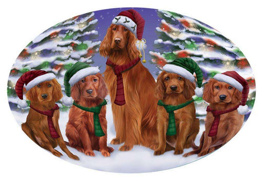 Irish Setters Dog Christmas Family Portrait in Holiday Scenic Background Oval Envelope Seals OVE66856