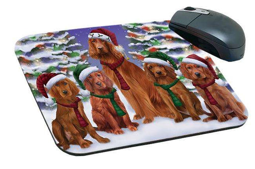 Irish Setters Dog Christmas Family Portrait in Holiday Scenic Background  Mousepad MPD52715