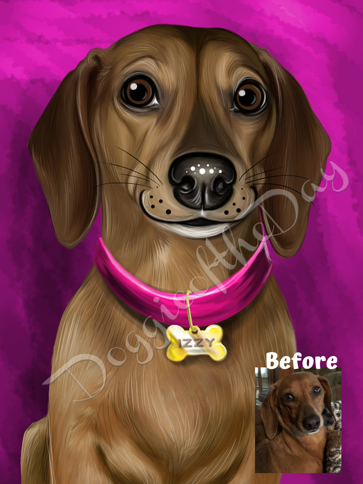 Digital Painting PERSONALIZED Caricature PET PORTRAIT! Custom Pet Dog or Cat Art