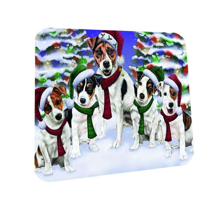 Jack Russel Dog Christmas Family Portrait in Holiday Scenic Background Coasters Set of 4
