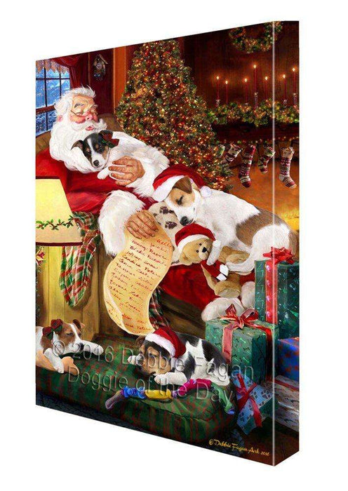 Jack Russell Dog and Puppies Sleeping with Santa Painting Printed on Canvas Wall Art