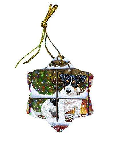 Jack Russell Dog Christmas Snowflake Ceramic Ornament