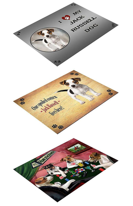 Jack Russell Set of 3 Magnets Spoiled Rotten, Poker Dogs and I Love My Dog