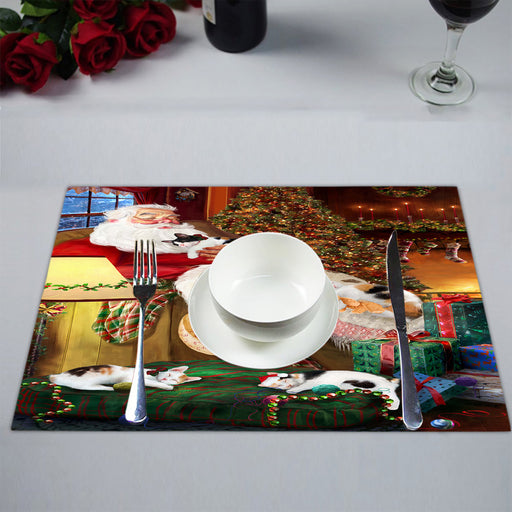 Santa Sleeping with Japanese Bobtail Cats Placemat