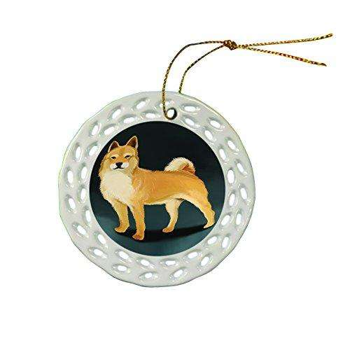 Jindo Dog Christmas Doily Ceramic Ornament